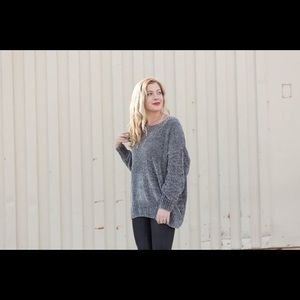 listicle Sweaters - Slouchy chenille boyfriend sweater